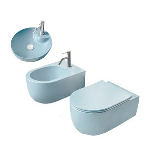 All in one bathroom  toilet women wc basin  bidet cuisine kitchen hand wash sanitary  sky blue wall flush  closet gloss toilette