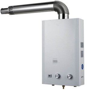 Balanced exhaust gas water heater with double pipe