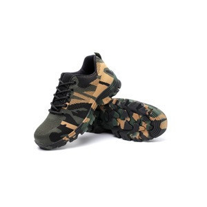 Camouflage Canvas Surface Pu Shoe Sole Anti Smashing Anti Penetration Double Steel Double Protection Safety Shoes