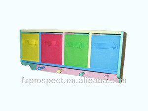 Children wooden storage cabinet with 3 non-woven drawers