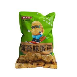 Chinese wholesale HOSENJI crispy nutrition seaweed flavor coated fava bean  snacks 288g plastic bag
