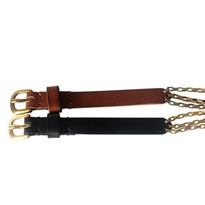 Custom Gold polish buckle Brown cow leather gold plating Metal Chain Belt