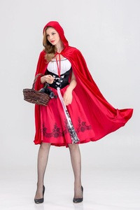 Europe And America Halloween Clothes Red Little Red Riding Hood Party Cosplay Dress Costume For Women