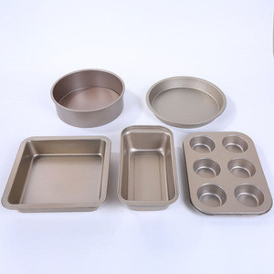 Food Safe Nonstick Bakeware Set 5pcs Kitchen Baking Tray Set 6 in 1 Carbon Steel Cake Mold Baking Tray
