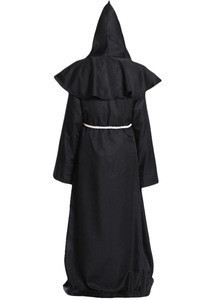 Medieval Priest Robes Monk Robe-Hooded Cape Cloak Halloween Cosplay Costume  for Wizard Sorcerer Pastor Outfit