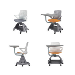 Node Tripod Base Chair With Writing Tablet & Base & Caster 360 Swivel Chair With Writing Pad