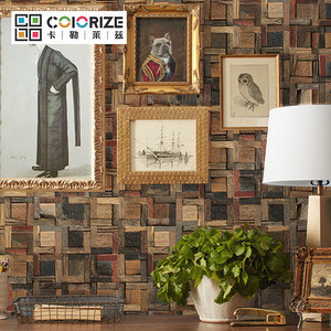 Old color strip mix square Solid Wood Board Wall Mosaic Background Wall Storefront Decora Culture Wood Wall Cladd Mosaic