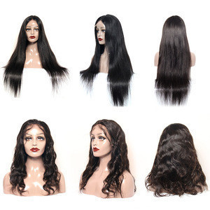 Pre plucked transparent cuticle aligned brazilian human virgin hair full lace front wig