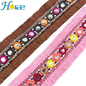 R300 Fashion Bohemian style cotton lace fringe trim tassel fringe trim for garment and shoe