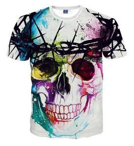 Skull style sublimation design round neck t-shirt