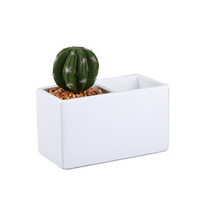 Table Stationery Storage with Cute Cactus Fake Plant