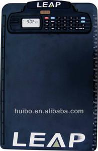 Time/alarm display plastic calculator clipboard with clock