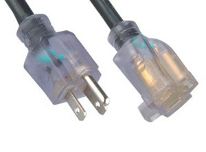 Transparent 3pin american power cords extension cords for general appliance
