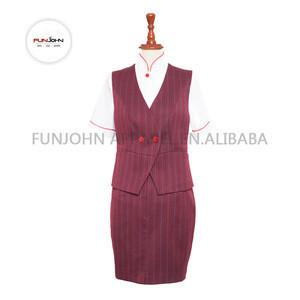 Wholesale TR fabric stripe red suit women airline stewardess cabin crew uniform for train bus cruiser