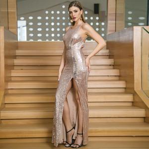 Women Sexy Fashion Split Sleeveless Jewel Bare Bridesmaid Sequin Glitter Maxi Club Evening Dress