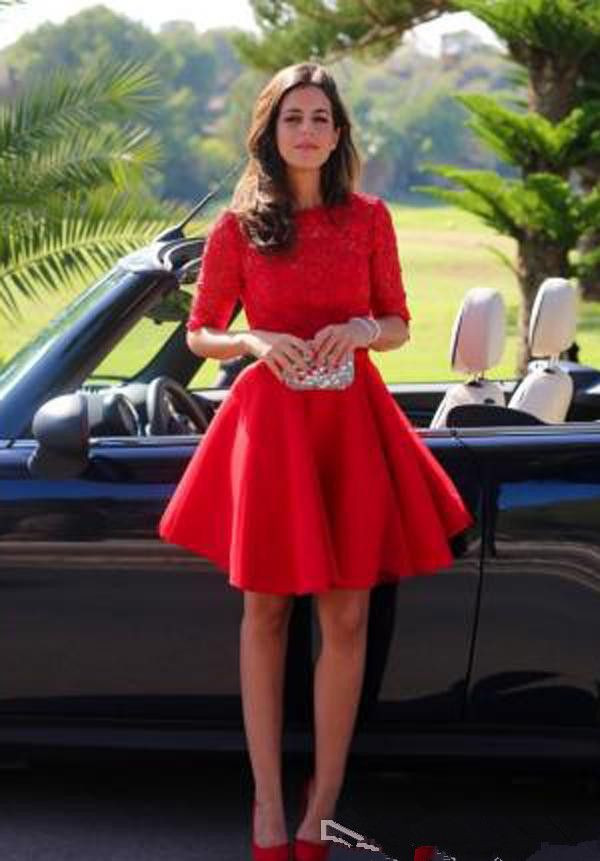 Cheap Red Short Lace Homecoming Dress A Line Half Sleeves Juniors Sweet 15 Graduation Cocktail Party Dress Plus Size Custom Made