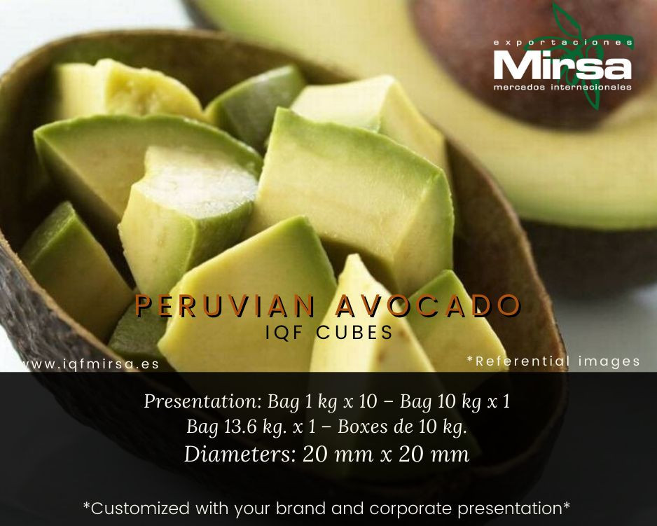 Frozen Avocado IQF cubes, halves, pulp and guacamole.