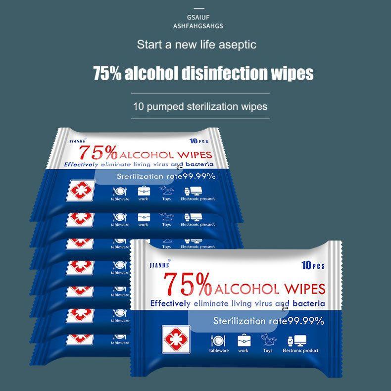 Custom 10Pcs Disinfecting Wipe Antibacterial 70% Alcohol Wipes Alcohol Disinfectant Wipes