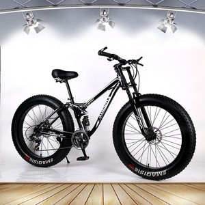 26 inch snow mountain bike bicycle aluminum alloy thick rim 21 speed front fork shock absorber double disc brakes 4.0 tires