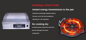 Commercial kitchen equipment griddle, commercial stainless steel flat top grill griddle induction