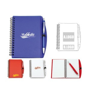 Custom 68 sheets Transparent Cover A6 PP Spiral Notebook with pen