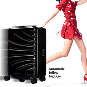 Custom logo hard shell carry-on smart cabin automatic self driving auto follow suitcase
