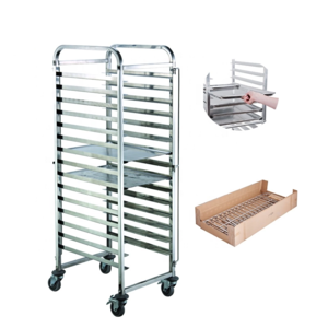 Custom tray carts Best quality assembling flat type stainless steel 201 bakery tray trolley