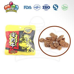 Delicious beef jerky snacks in bag