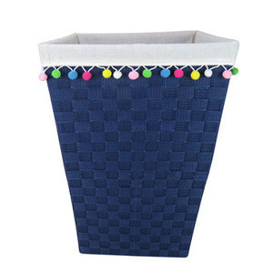 Handmade Woven Nylon Band Square Open laundry hamper toy storage Baskets with moveable pop-ball trim fabric liner
