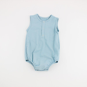Light Blue Organic Cotton Knit Nightwear Summer Unisex Infant Baby Rompers