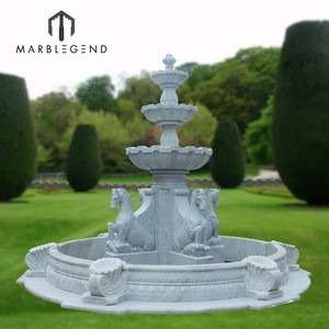 PFM hand carved garden decoration Chinese natural marble large outdoor water fountain