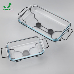 Rectangle Borosilicate Glass Bakeware Dish With Warmer Candle Rack
