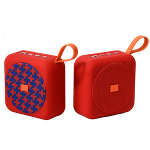 Wholesale ChinaImport Cheap Speaker Wireless Portable Mini Fabric Cube Speaker Music With FM Radio
