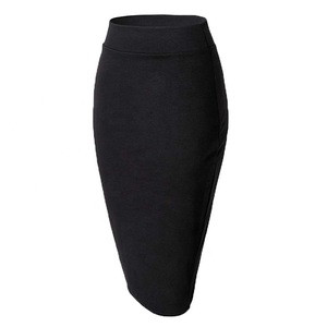 Womens Elastic Waist Stretch Bodycon Midi Pencil Skirt