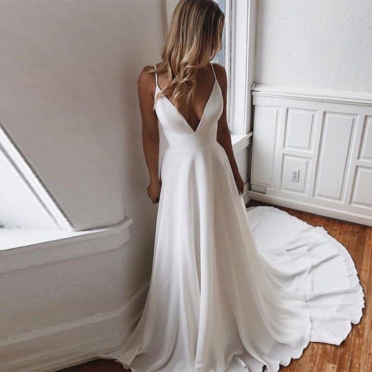 paghetti Strap Simple White Ivory Chiffon China  Wedding Dress Evening Real