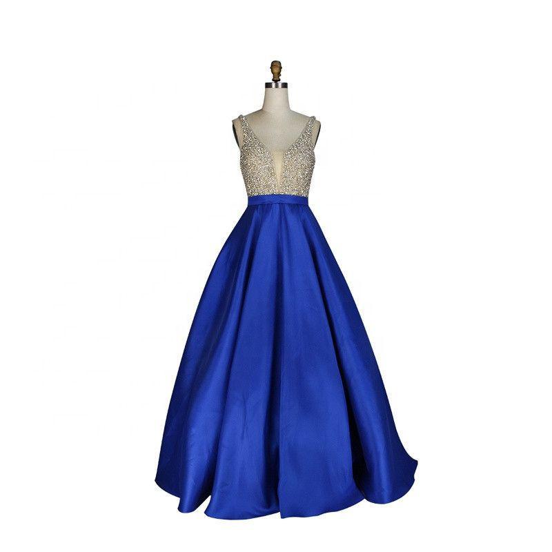 Illusion Designer Satin Sleeveless Prom Dresses Ball Gown Evening Dresses ball gown dress