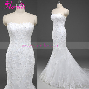 100% Real Photos Custom Made Luxurious Long Train Lace Applique  Wedding Dress