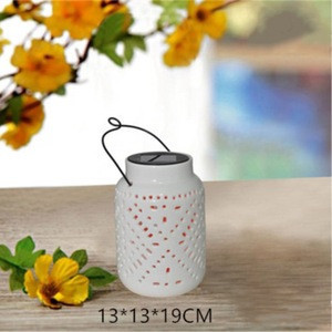 Ceramic solar Light powered LED lantern decor with LED outdoor garden hanging lamp