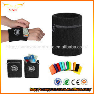 Fancy Cotton Wristband with Zipper Pocket Sports Armband Sweatband
