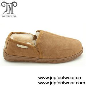 Fur lined winter warm wool indoor shoes for men
