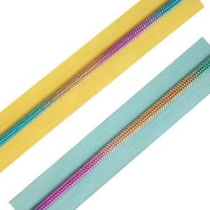 Hot-sale  #3  #5 #7 rainbow  long chain nylon  zipper  for fashion bags