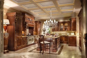Maple solid wood antique style kitchen cabinets design