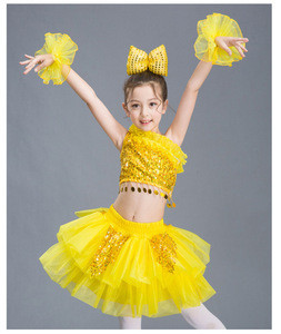 Rainbow Sequin Girls Stage performance costumes Morden Dance Tutu Skirt Latin Dancewear For kids