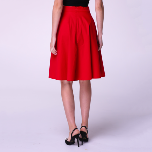Red Knee Office Day Summer Elegant Circle A-line Cotton Skirt
