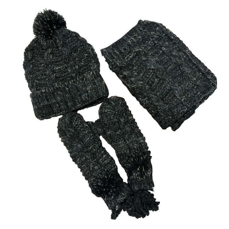 Winter 3Pcs/Set Soft Stretch Recycled Polyester Houndstooth Knitting Scarf Hat and Glove