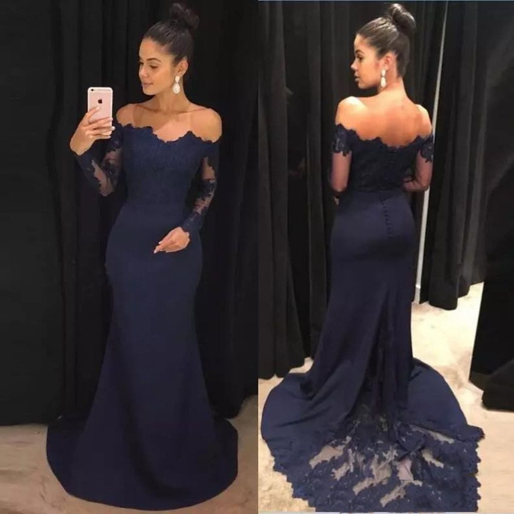free Shipping Navy Blue 2020 Mermaid Evening Dresses Lace Long Sleeves Prom Gowns Off The Shoulder Sweep Train Bridesmaid Dress