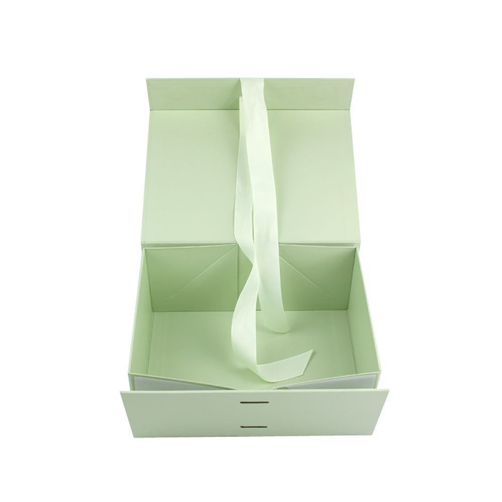 Custom Printed Folding Packaging Gift Boxes With Ribbon