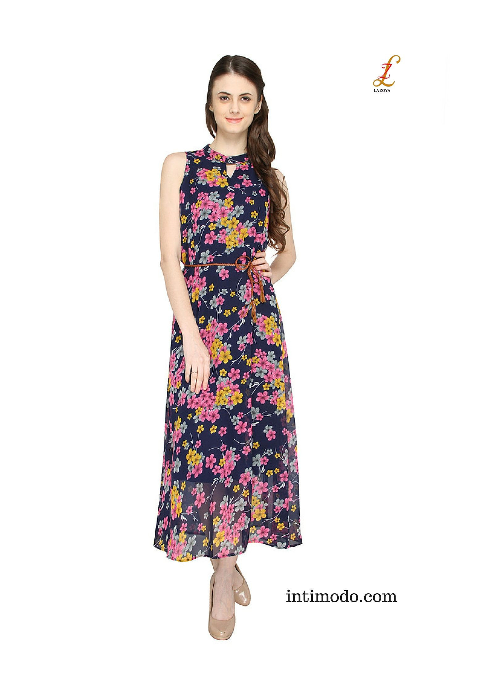 Halter Neck A line Floral Maxi Dress