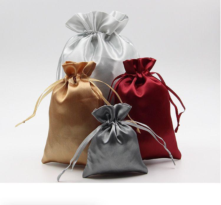 Drawstring gift satin silk bag with customized logo