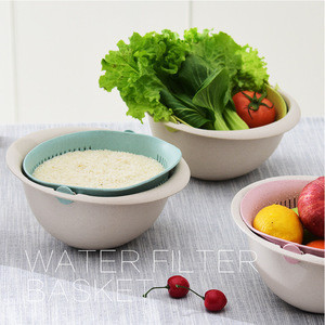 2-in-1 kitchen Strainer Colander Large Plastic Washing Bowl and Strainer for Fruits Vegetable Cleaning
